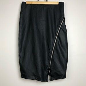 Faux Black Leather Asymmetrical Zipper Skirt